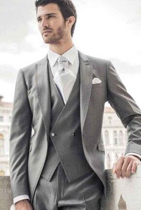 Latest Coat Pant Designs Grey Double Breasted Trim Formal Peaked Lapel Custom Bridegroom Suits For Men Skinny 3 Pieces Ternos 74