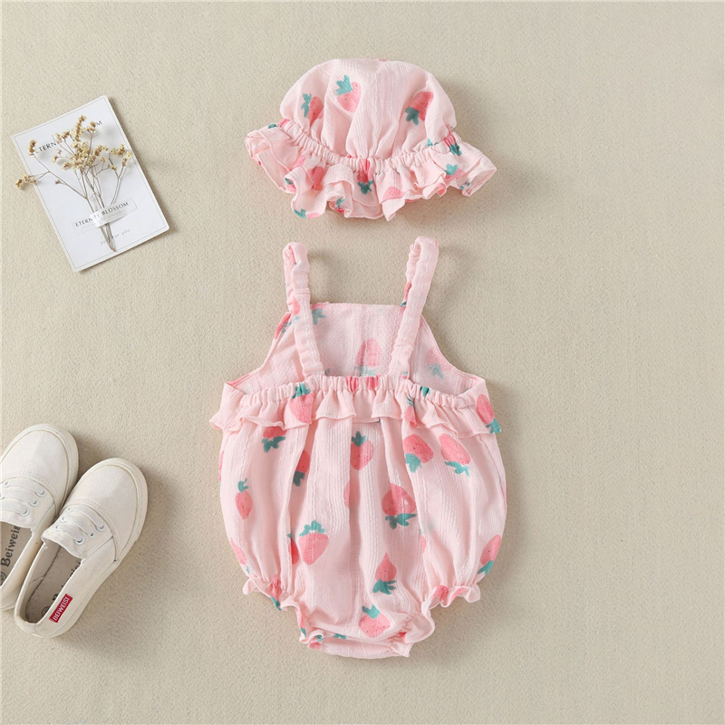 USA 2pcs Strawberry Infant Baby Girl Romper Bodysuit Sunsuit Clothes Outfits