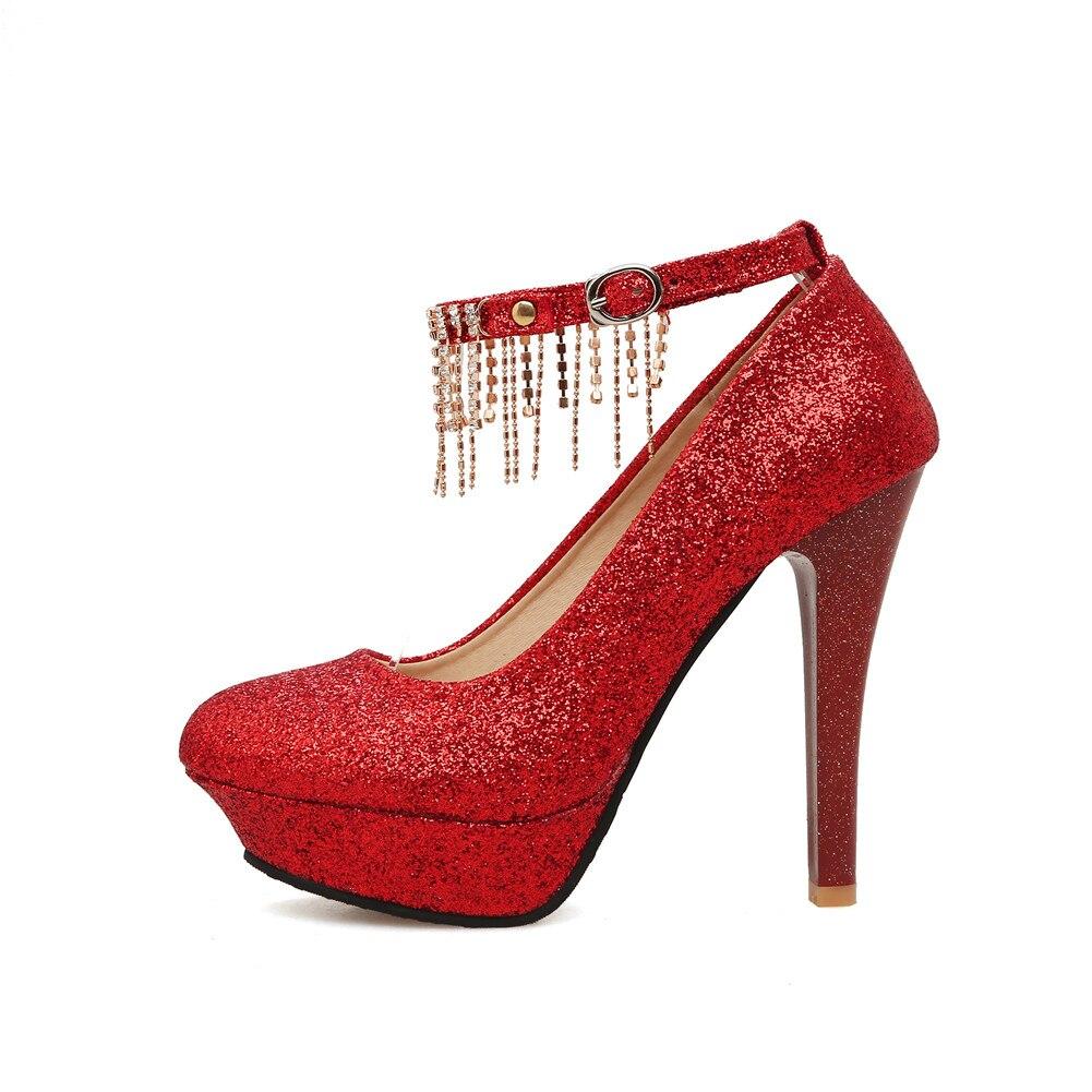 Haute Dames argent Pompes Pary Chaussures Talons Or Printemps forme Plate Profonde Super Femme De Mariage Femmes rouge Sexy Peu Date Bonjomarisa Shinning qYwt1C