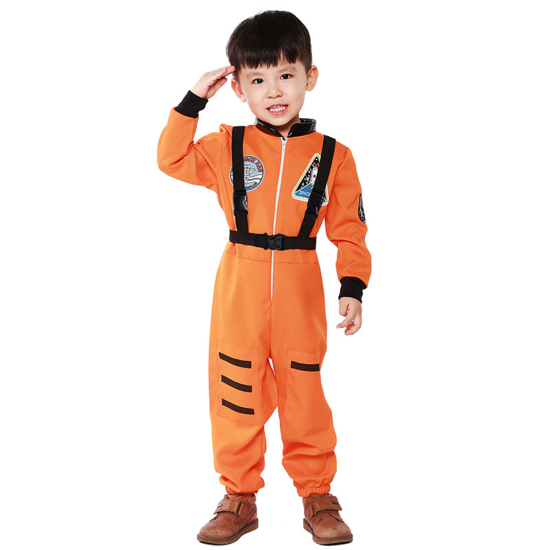 Halloween Boy's Astronaut Jumpsuit Yellow White Child Astronaut Costume Book Week Children's Day Cosplay Fancy Dress