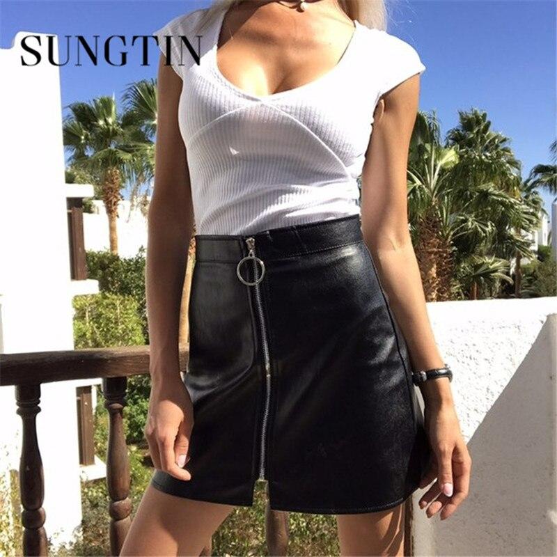 Sungtin High Waist Faux Leather Skirt Women Sexy Mini Short Bodycon Pencil Skirts 2019 Spring Front Zipper PU A-Line Skirt
