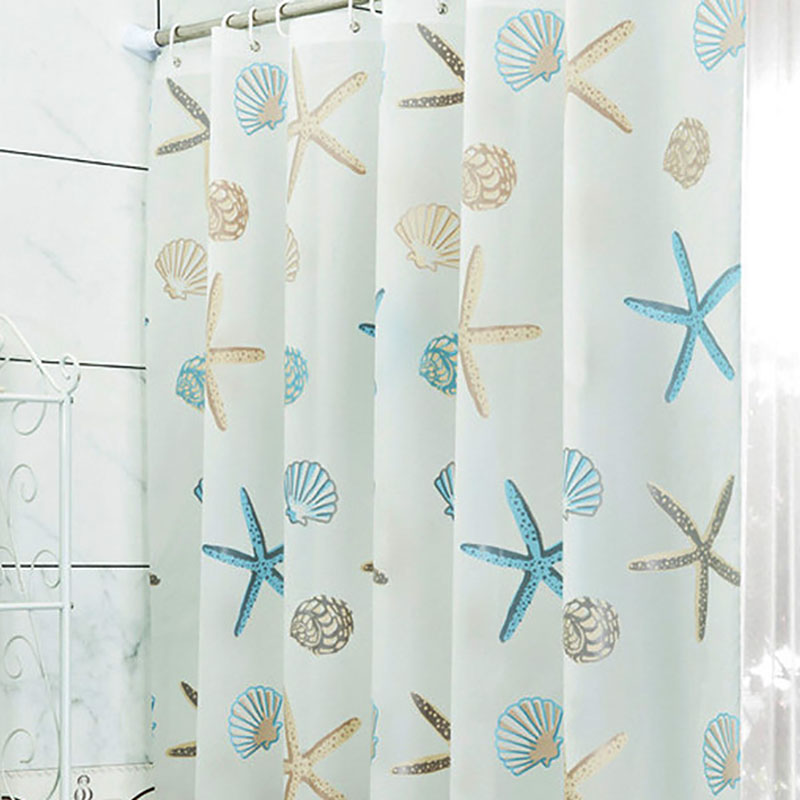 Bathroom ShellWaterproof Proof Shower Curtain With 12pcs Curtain Hooks Rings 180cm*180/200cm