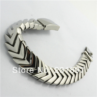 Hot Amazing Arrow Design Shiny Silver Tone Mens Bracelet Polishing Solid 316L Stainless Steel Bangle Biker
