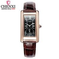 2019 moda chenxi marca feminina relógio de couro retangular dial independente feminino relógios casuais senhoras presente quartzo relógio de pulso