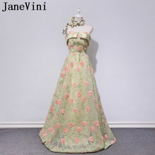 JaneVini 2018 New Style Strapless Floral Long Prom Dress Party Wedding Jurk  Lang Bridesmaid Dresses Girl b56329598241