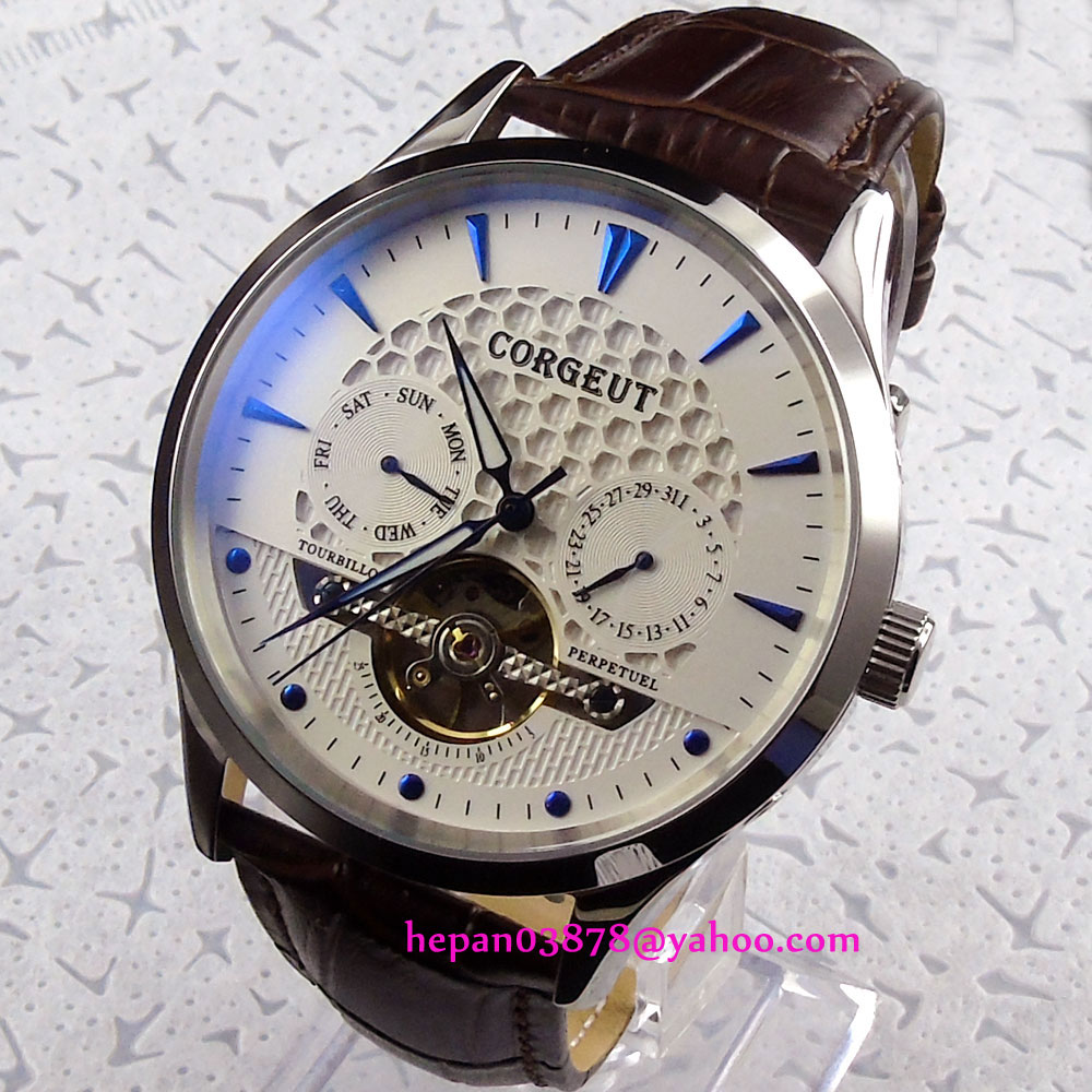 44mm Corgeut White dial blue hands Domed glass  week&date Multifunction Automatic movement mens watch P20744mm Corgeut White dial blue hands Domed glass  week&date Multifunction Automatic movement mens watch P207