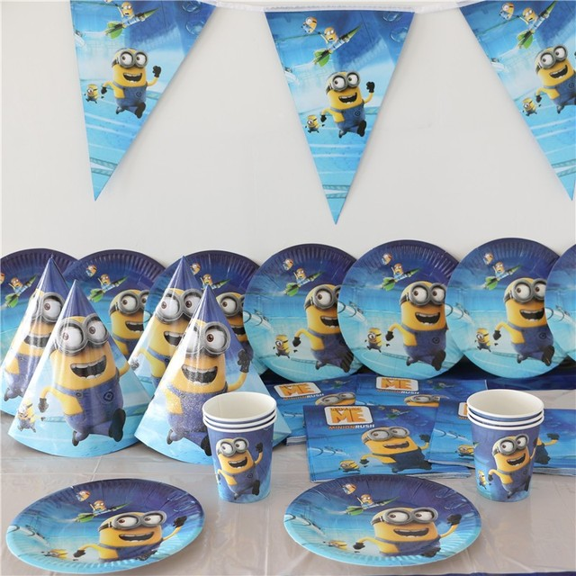For 12People Minions Disposable Party Set Birthday Decorations Kids Boy Baby  Shower Cup Plate Napkins Tablecover