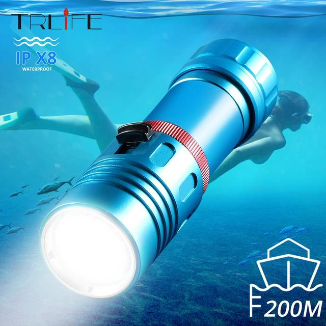 L2 Professional Diving flashlight Scuba Torch LED 200M Underwater LED Flashlights led Powerful Dive lamp 18650 or 26650