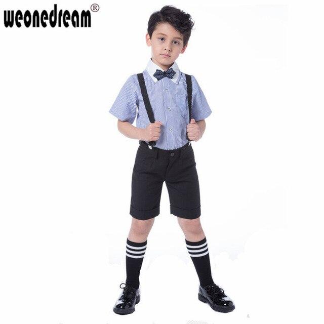 Weonedream летние свадебные костюмы для мальчиков синий полосатый + короткие брюки свадьбы формальные мальчик наряд дети пром производительность костюм