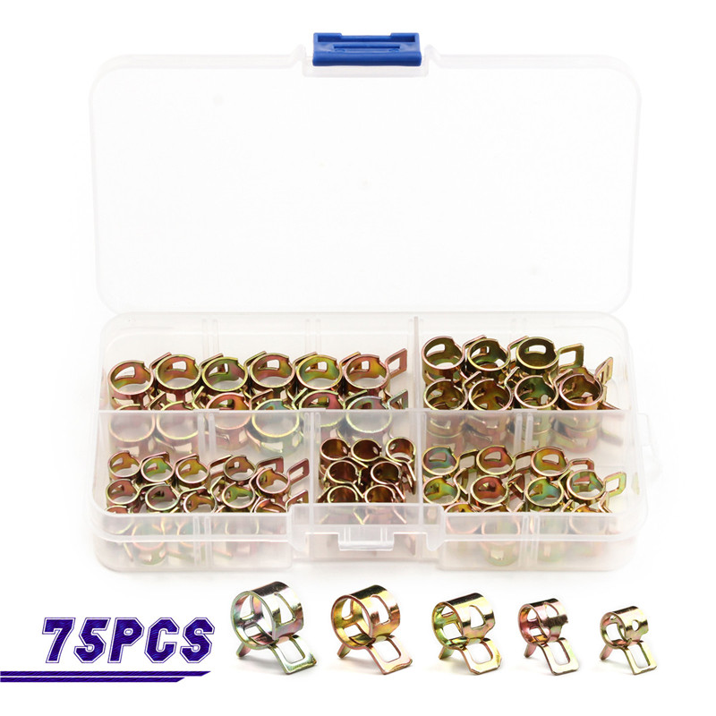 75 PCS 6mm/7mm/8mm/9mm/10mm Zinc Plated Hose Spring Clamp Water Pipe Clamp Air Tube Clip Clamp Fastener Assortment Kit 0805 0603 0402 1206 smd capacitor resistor assortment combo kit sample book lcr clip tweezer
