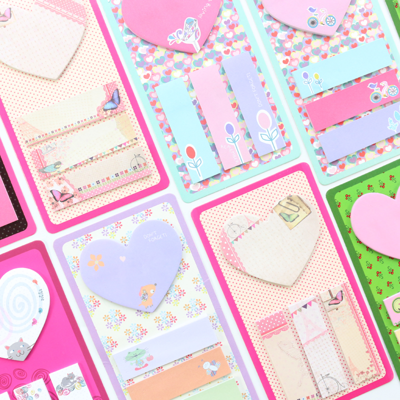 Domikee Cute Cartoon Multi Self-adhesive Memo Pad Stickers Candy School Kids Sticky Notes Tag Label Book Stationery Supplies