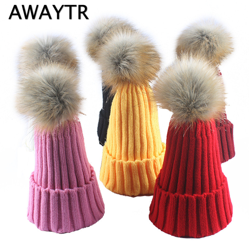 AWAYTR Winter Femal Knitted Beanies Hat For Women Wool Imitation Fur Ball PomPoms Skullies Caps Womens Solid Touca Bonnet wool felt cowboy hat stetson black 50cm
