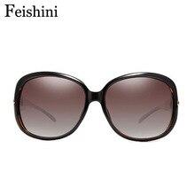 Фотография FEISHINI High Quality Artificial Crystal Oval Glasses FDA HD Lens UV400 Original Vintage Sunglasses Women Brand Designer