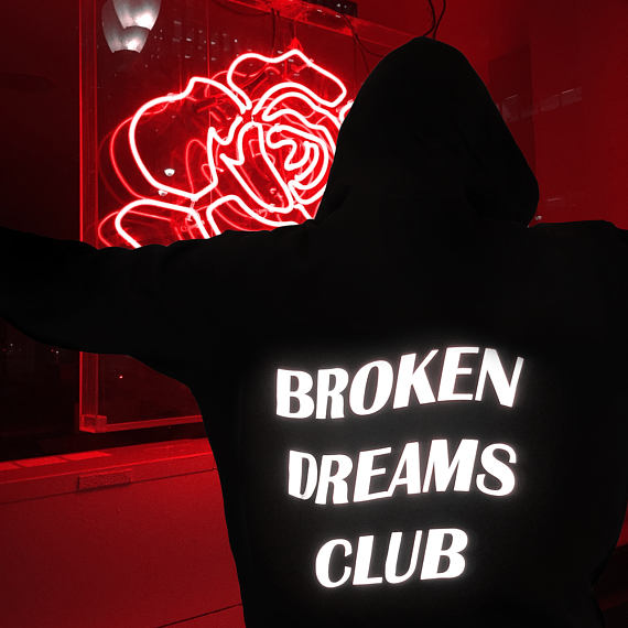 Broken Dreams Club Reflective Hoodie Black Tumblr Inspired Aesthetic