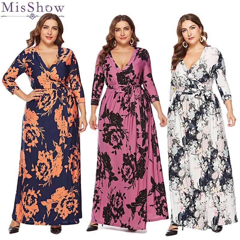 Robe De soirée longue trois quarts 2019 grande taille modèle élégant robes De soirée avec ceinture Sexy col en v Robe De soirée florale