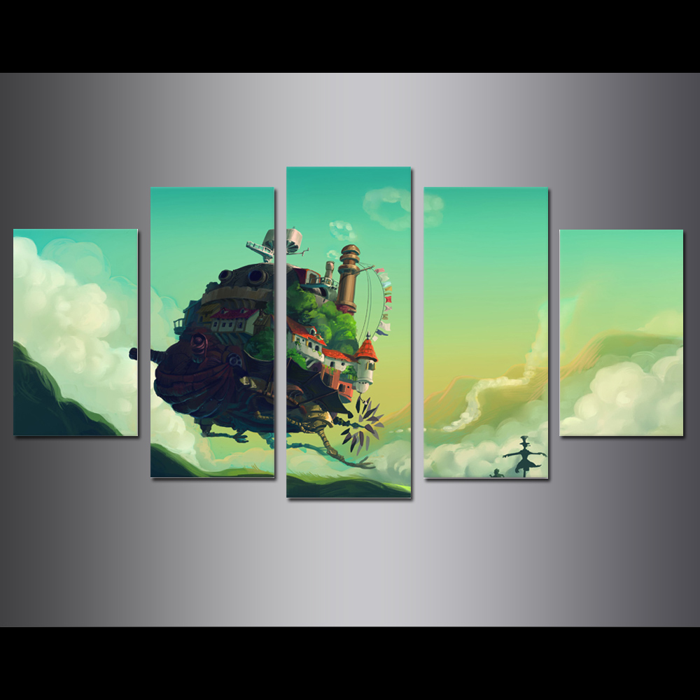 Unframed Canvas Painting Animation Howls Moving Castle Modular Picture Prints Pictures For Living Room Wall Art Decoration