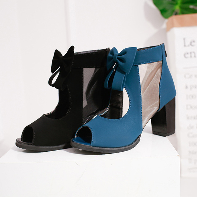 Image 3 - 2019 Summer New Fashion Cool Boots Hollow Bow Ladies Landals Back Zipper Fish Mouth Womens Shoes Sandalias De Verano Para MujerHigh Heels   -