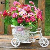 등나무 직조 인공 꽃 바구니 수제 시뮬레이션 자전거 정원 꽃 냄비 사무실 장식 나무 재배자 바구니