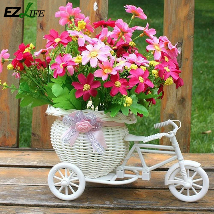 Rattan Weaving Artificial Flower Baskets Handmade Simulated Bicycle Garden Flowers Pot Office Decor Wooden Planter Basket