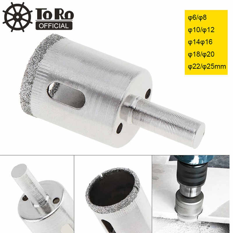 TORO 10/12/14/16/18/20/22/25mm Diamond Coated Core Hole Saw Drill Bit Set Tools Glass Drill Hole Opener for Tiles Glass Ceramic