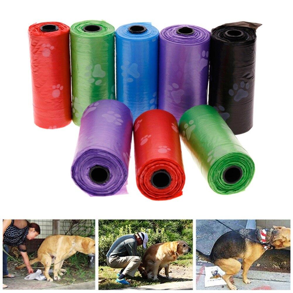 Random Color Paw Printing Pet Bags Pet Dog Environmentally Clean Bags Home Dog Supplies Pet Poop Bag #258337