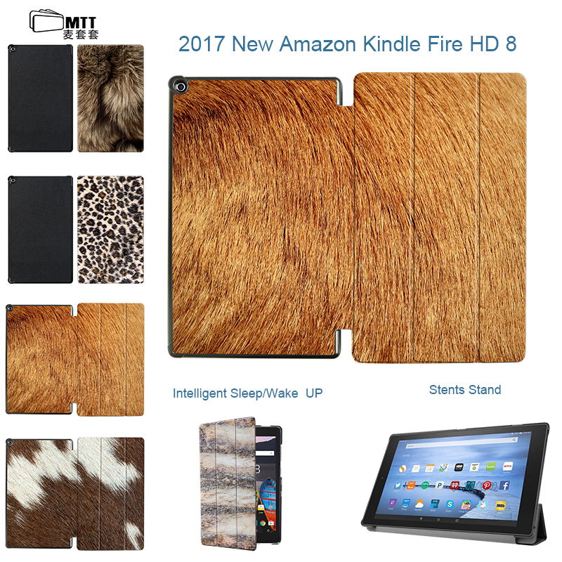 MTT Animal Furs Case for Amazon Fire HD 8 Tablet 7th Generation Leather Smart Cover For all New Kindle Fire HD 8 2017 Stand case cartoon painted flower owl for kindle paperwhite 1 2 3 case flip bracket stand pu cover for amazon kindle paperwhite 1 2 3 case