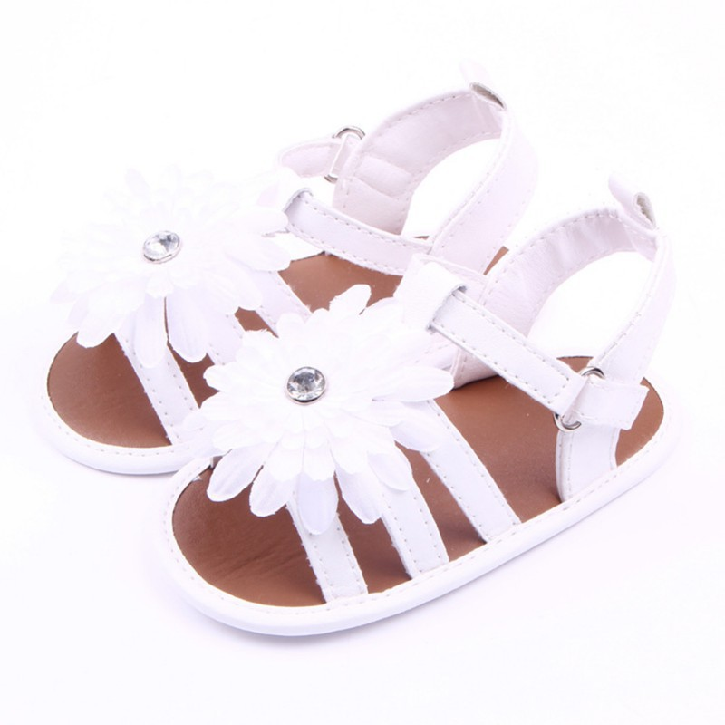 Baby Toddler Flower Walking Sandals Kid Girl Pu Leather Slip-On Crib Shoes Summer Children Sandals For Girls