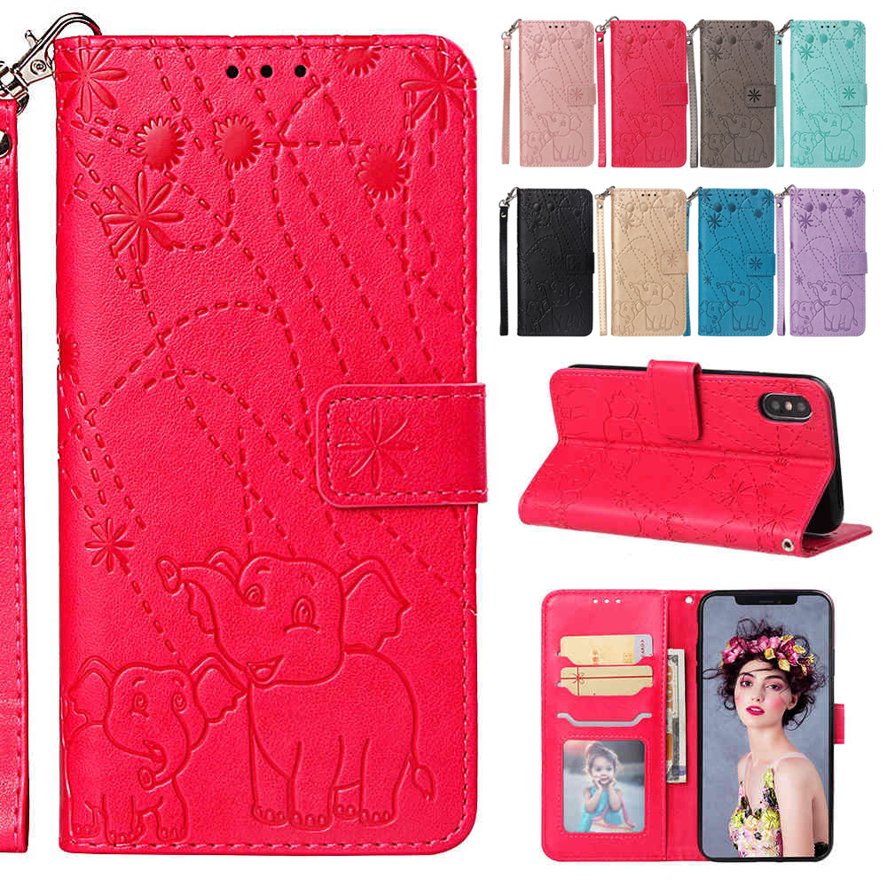 Liberal Risiea Flip Leather Phone Case For Iphone 5 5s Se 6 6s 7 8 Plus X Xs Max Xr Fireworks Elephant Texture Wallet Card Pocket Agreeable To Taste