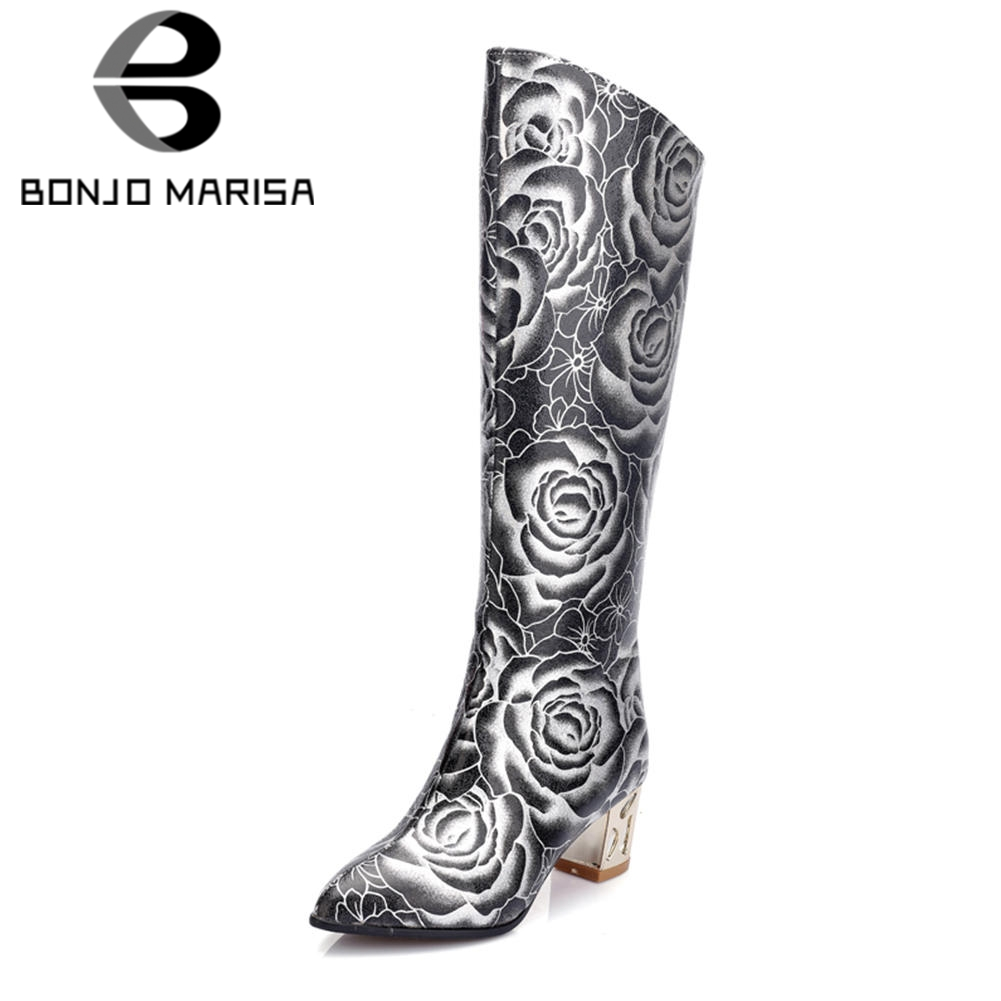 BONJOMARISA 2018 Winter Plus Size 33-48 Fashion Flower Print Knee High Boots Party Wedding Warm Fur Boots High Heels Shoes Woman shoulder cut plus size flower blouse
