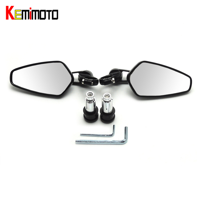 "KEMiMOTO 7/8"" 22mm Universal Motorcycle Mirror  Moto Bar End Mirror Rearview Side Mirror For BMW for Kawasaki for Honda Parts"
