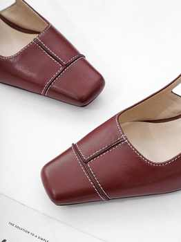 Summer slingback full grain leather vintage square toe sandals buckle strap med heels woman brand wedding party dating shoes L01