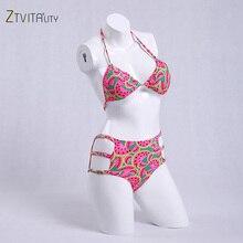 Swimsuit 2018 New Arrival Watermelon Print Bikinis Women Lace Up Bikini High Waist Hollow Out Sexy Swimwear Women