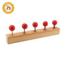Montessori Kids Toy Wood Red Screw Bolts Learning Educational Preschool Training
