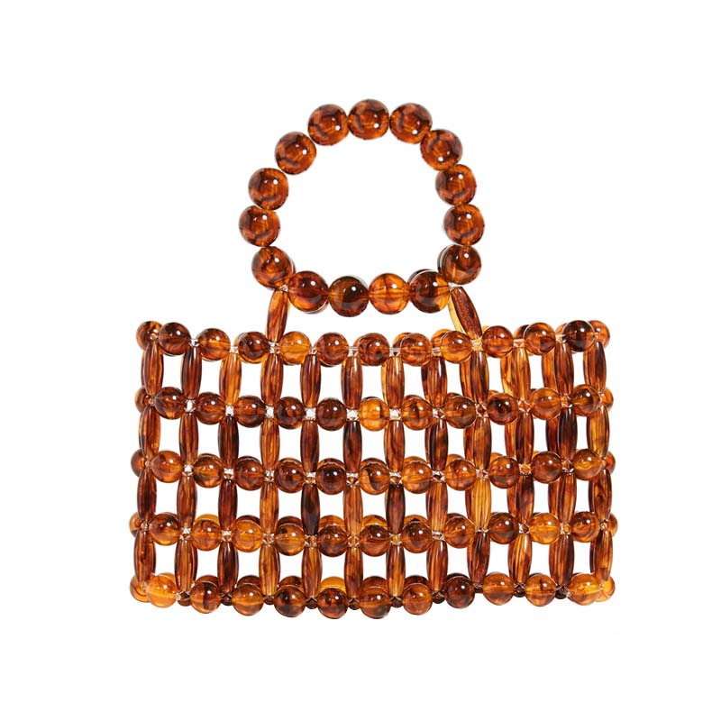 Small Bag 2019 New Acrylic Beaded Bag Handwoven Wooden Square Handbag For Women Holiday Beach Tote Hollow Out Bolso MujerSmall Bag 2019 New Acrylic Beaded Bag Handwoven Wooden Square Handbag For Women Holiday Beach Tote Hollow Out Bolso Mujer