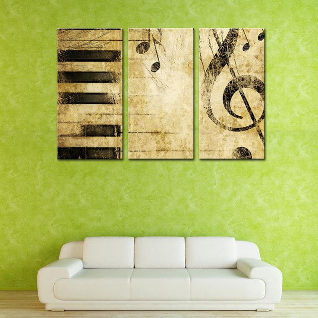 3 Panles Piano Score Canvas Paintings Wall Art Painting Music ...