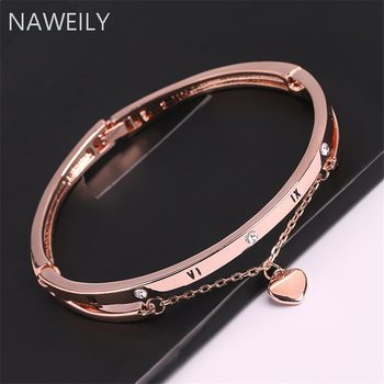 Charming Rose Gold Silver Color Crystal Bracelet Bangles For Women Fashion Heart Pendant Bangle Cuff Bracelet pure 24k yellow gold pendant 3d craved hollow heart bracelet pendant 1g