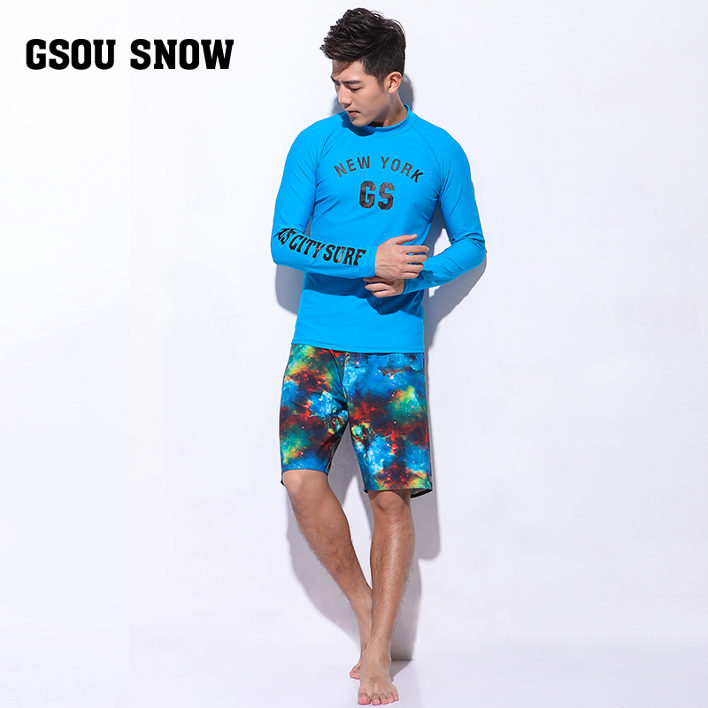 GS men long sleeve swimsuit rashguard swimming wear diving surf shirt and board shorts swim trunk beachwear rash guard UPF50 UV