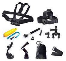 Gopro Accessories Set Bike Bicycle Handlebar Holder+Car Suction Cup+Chest Strap+Monopod+Bobber Floating For GoPro Hero 3 3+ 4 5