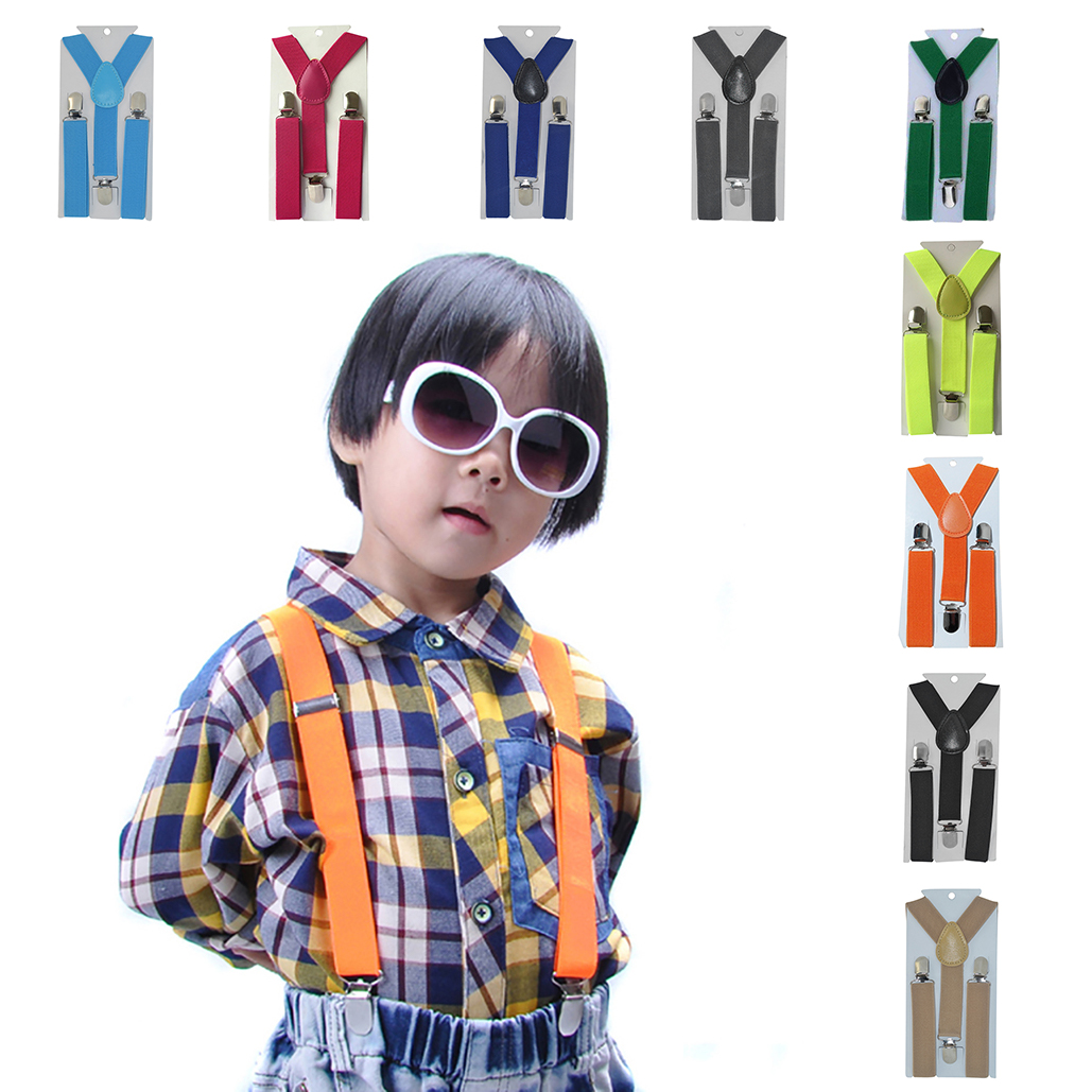 2019 New Kids Adjustable Suspenders Braces Elastic Belt Children Baby Boys Girls Clip-on Y-Back Braces Soild Color Suspender