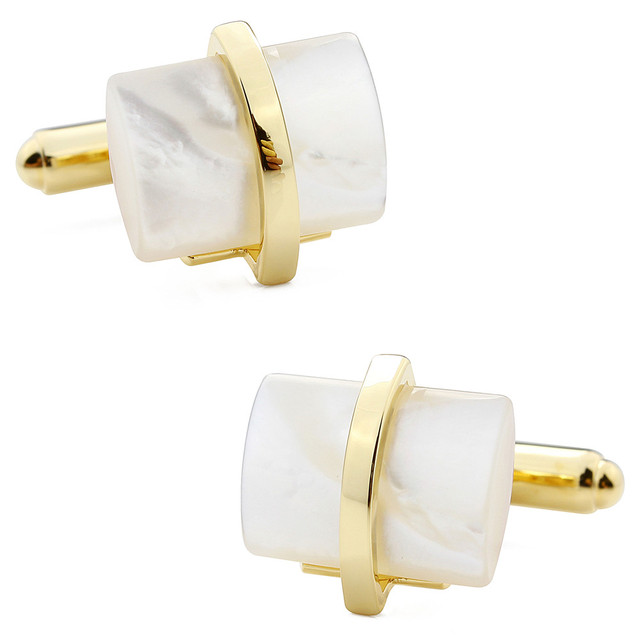 1 Pair Retail Trendy Fashion Gold Plated With Mother of Pearl Jewelry Men's Cuff Links Shirt Accessories