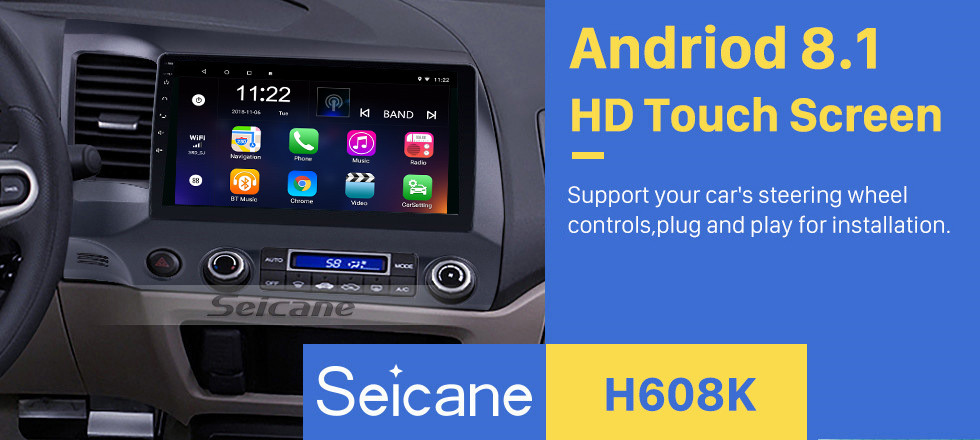 Seicane 10 1 inch Android 8 1 IPS 8-Core Car GPS Navigation Radio  Multimedia Player for 2006-2011 Honda Civic with Bluetooth