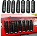 Free shipping 6pcs/lot Car Styling FRONT GRILL decoration Cover Car Accessories for 2007-2014 Jeep Wrangler Rubicon Jk
