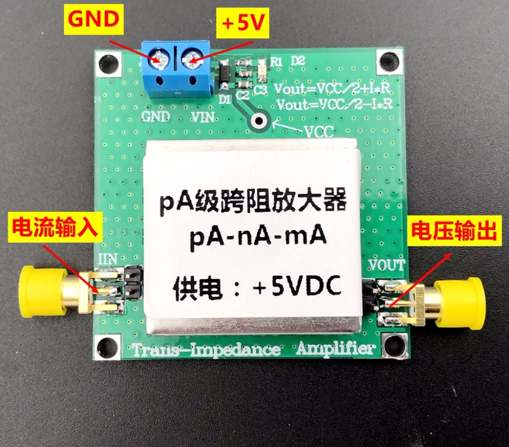 TLC2201 TIA Transimpedance Weak Current Measurement Module IV Conversion Preamplifier Silicon Light Detection