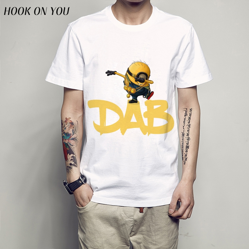 2017 New Arrivals Funny DAB Minions Design T shirt Hipster Tops customize Printed Short Sleeve skull Minions anatomy T-Shirt