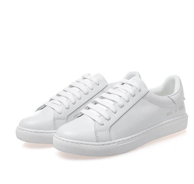 100% Zapatos de Cuero Genuinos de Las Mujeres Zapatos Casuales Mujer Pisos Zapatos de Marca Transpirable Zurriago Blanco Envío Gratis