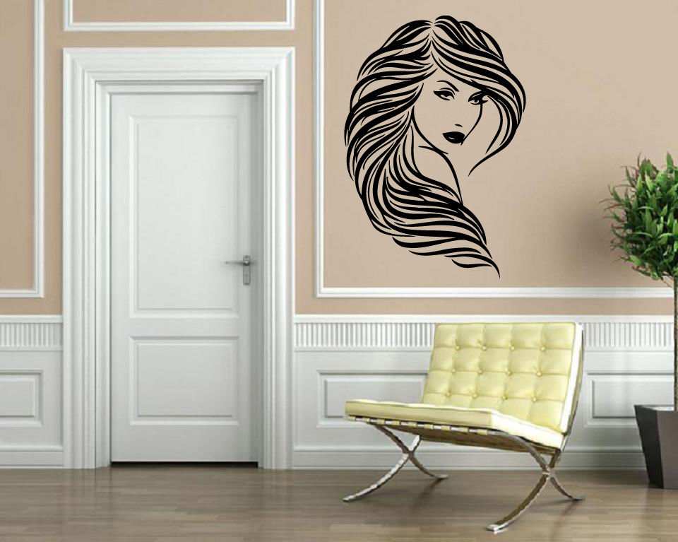 Beautiful Girl Wavy Hair Salon Wall Decor Quotes For
