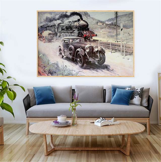 London Industrial Revolution Vehicle Train Car Poster Vintage Wall Art  Retro Decor Traffic Canvas Oil Painting