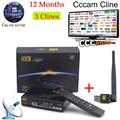 1 Ano Cccam Europa Freesat V8 Super + 1 pc USB Wi-fi DVB-S2 suporte Cccam PowerVu Receptor de Satélite Full HD 1080 P 3 Clines servidor