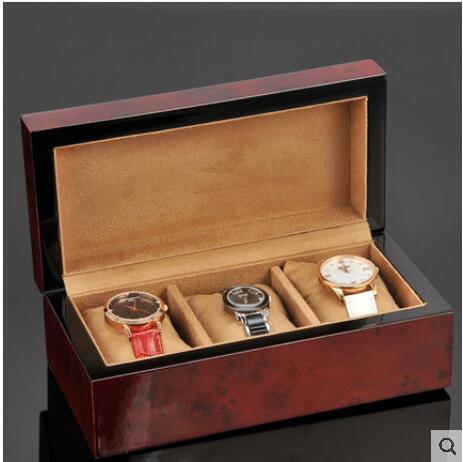 Luxueux 3 fentes bois boîtes de montre en bois cas pour montres montre boîte d'affichage pour bijoux montres organisateur boîte en bois SBH017