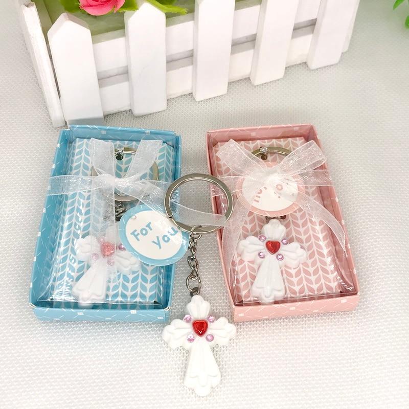 30pcs Lot FREE SHIPPING White Cross Keychain In Gift Box Birthday Souvenir Baby Christening Gift